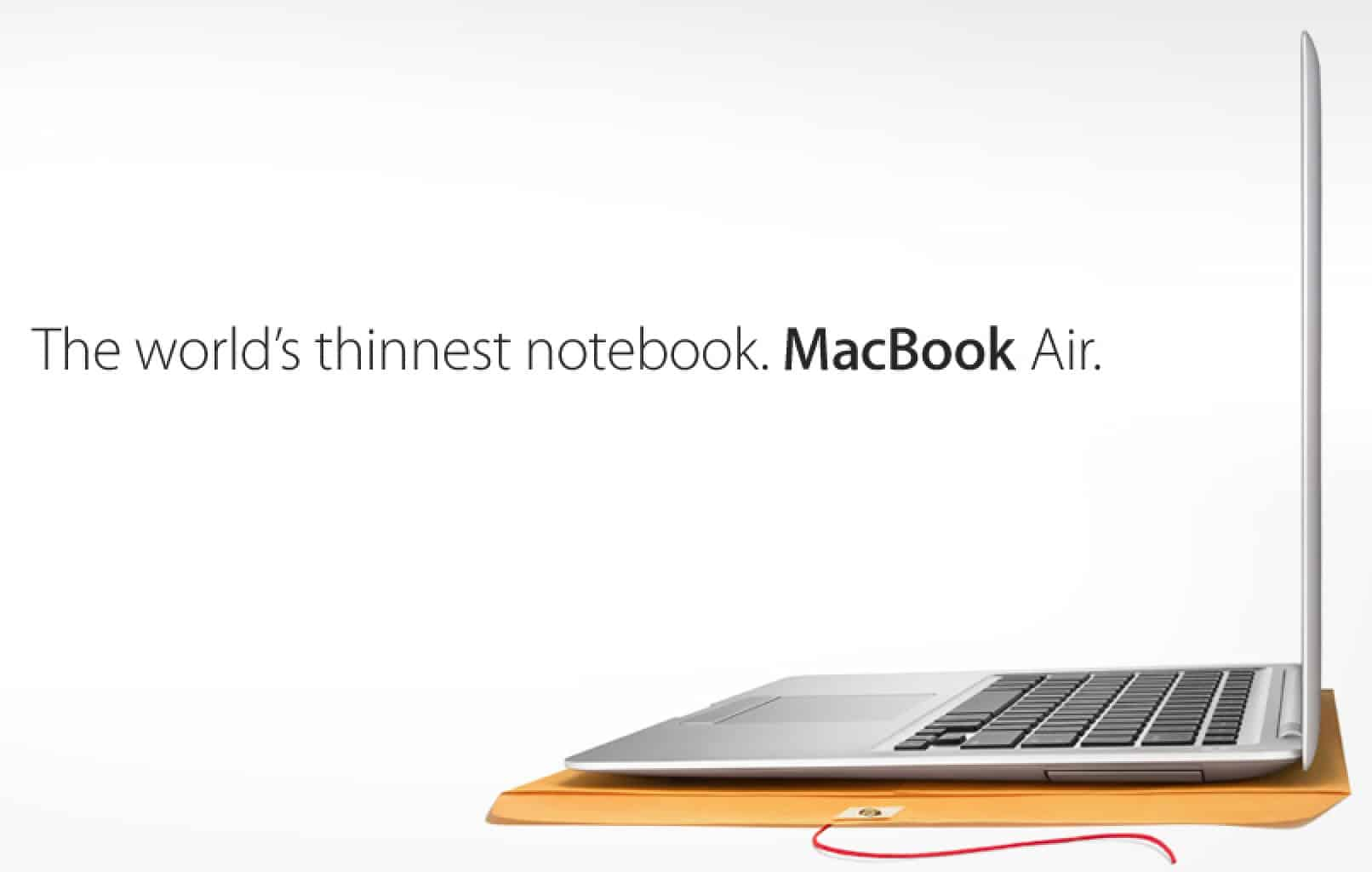 "A plain manila envelope became a key stage prop for selling the MacBook Air, ""the world's thinnest notebook."""