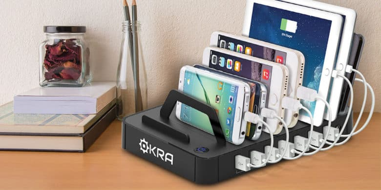 With slots for 7 devices, this charging hub makes sure the tabletops are clear and everyone's devices juiced up.