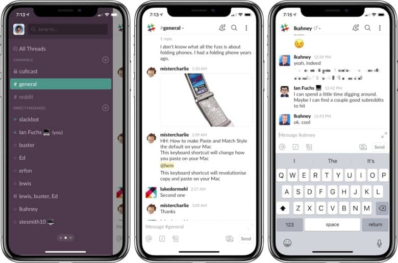 Slack app screenshots channel list, group and private dm
