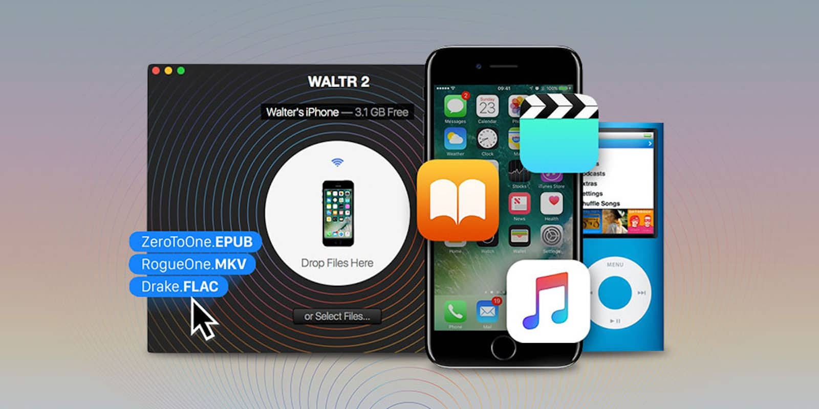 Easily transfer all your media between all your Apple devices without wires, converters, and other headaches.