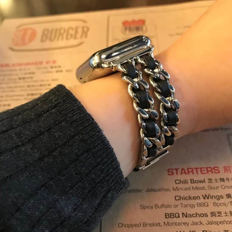93dec5335 Add edge to Apple Watch with these chainlink and leather bands [In Stock]