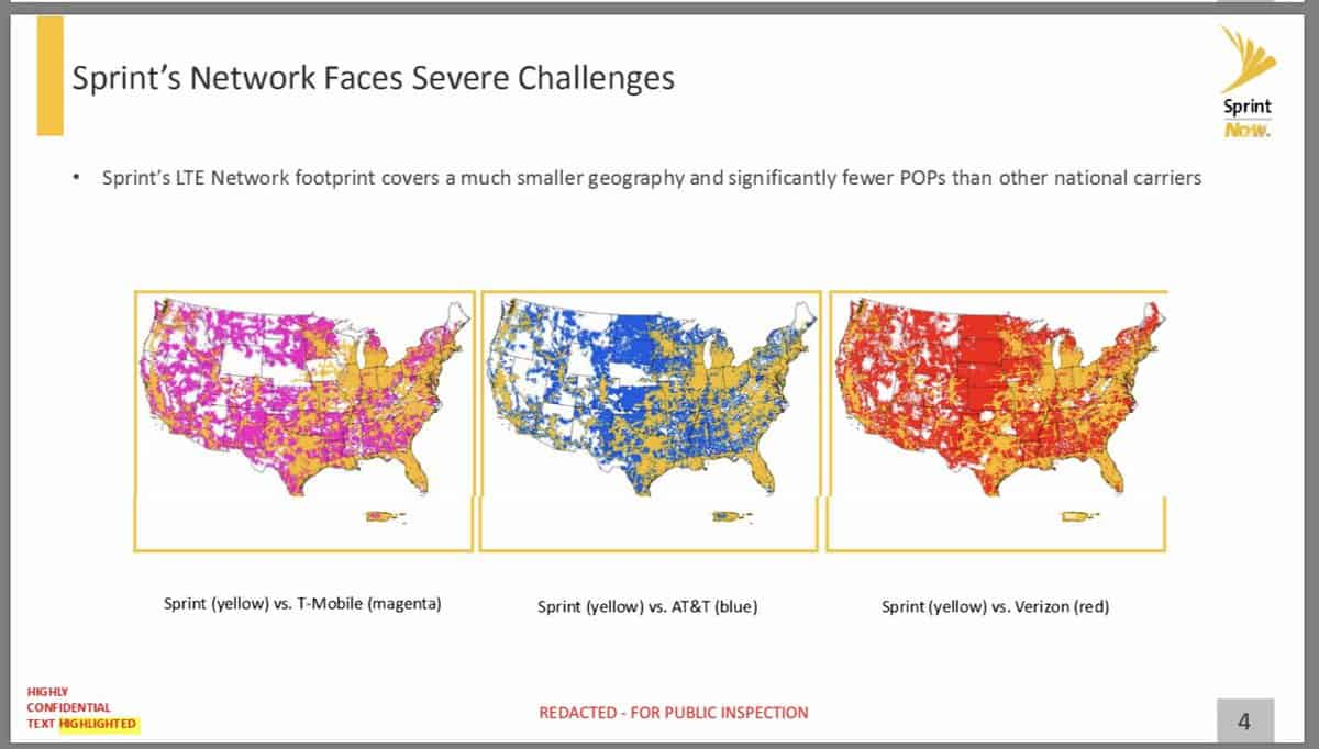 Sprint's 4G LTE coverage area is far smaller than all its top competitors'.