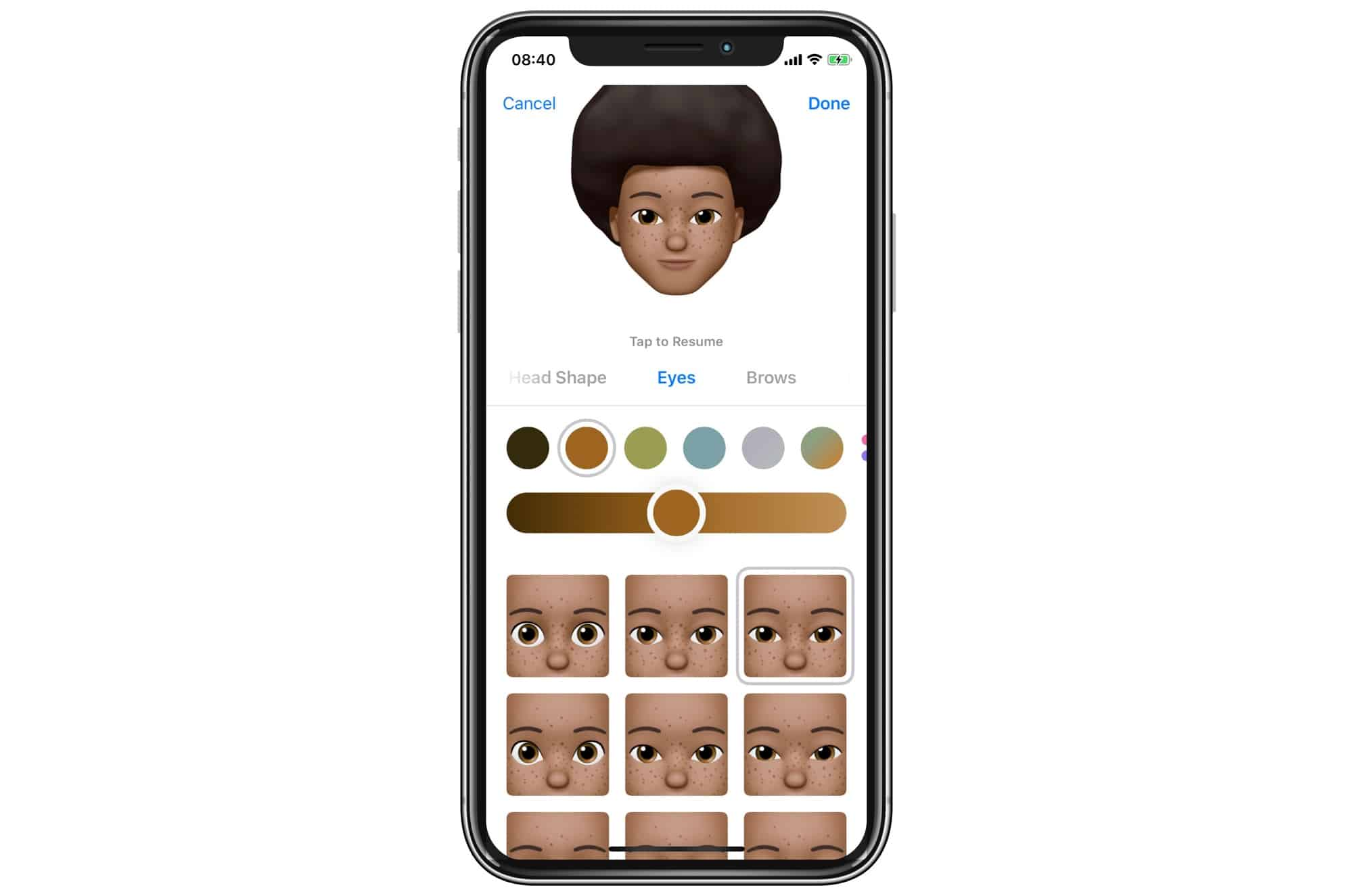 Plenty of Memoji eye options mean you can get pretty close.
