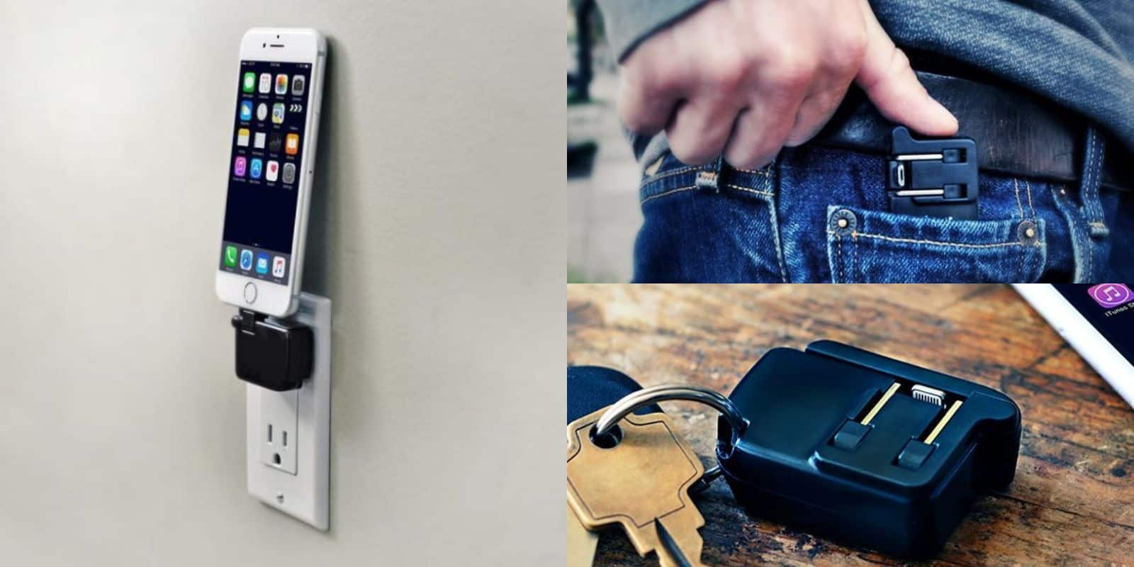 This iPhone wall charger folds up to fit in your pocket or on your keychain.