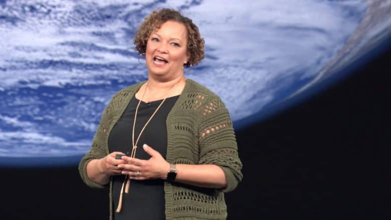 Apple VP Lisa Jackson showcases Apple's environmental efforts during the Gather Round event.
