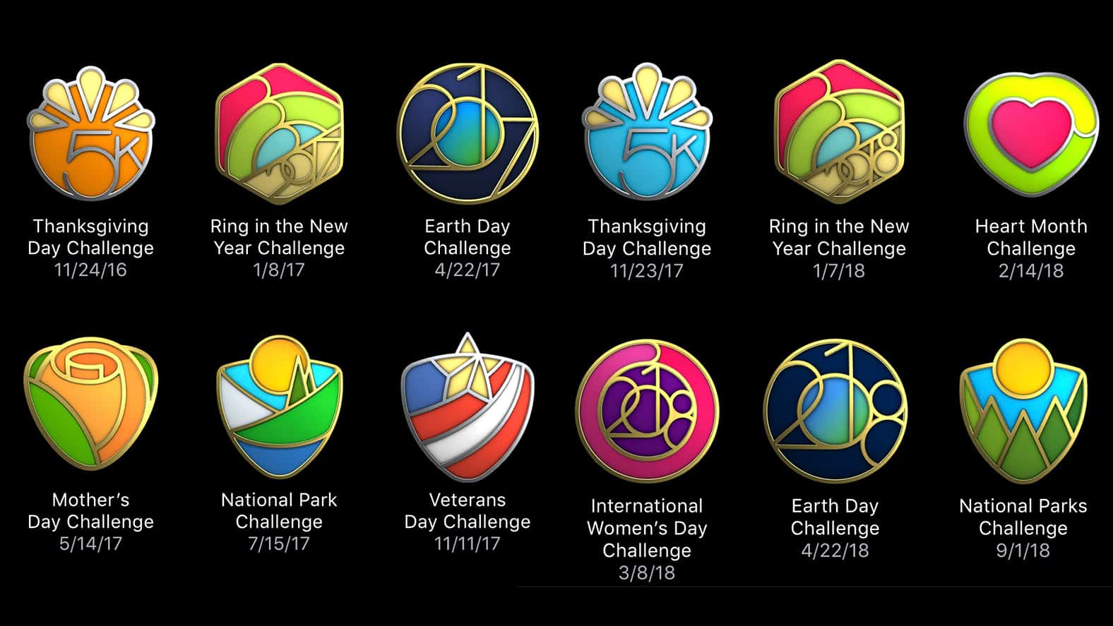 Activity badges for Apple Watch challenges
