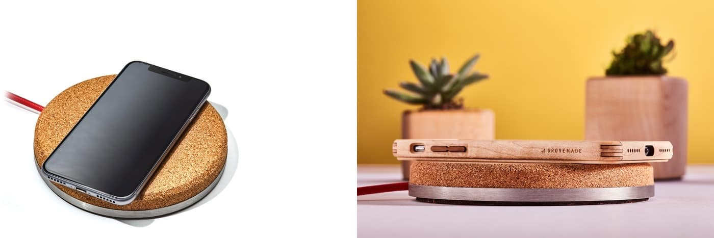 The Grovemade coaster iPhone XS charger.