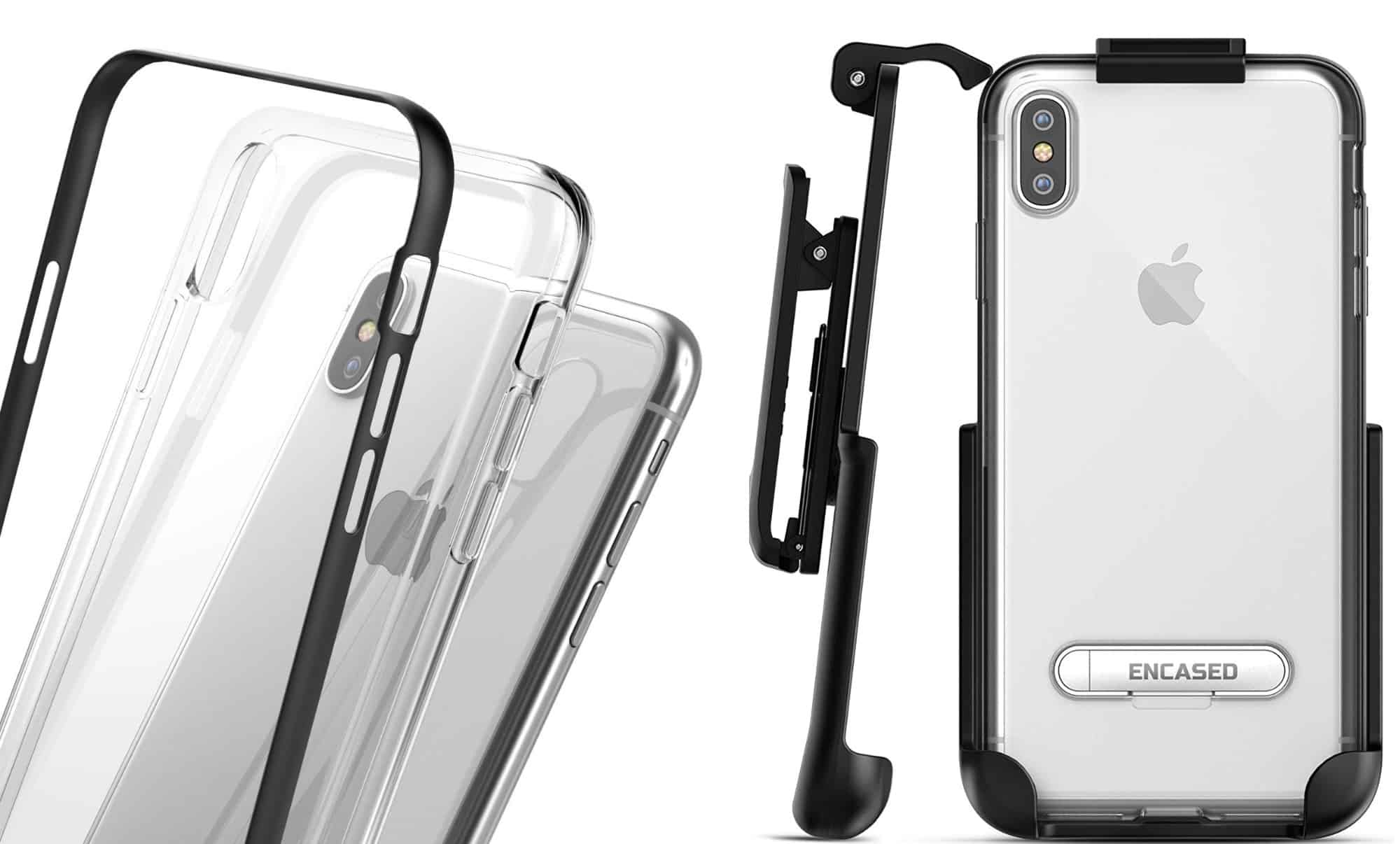 The Encased iPhone XS Max Belt Clip Clear Case with Holster Clip is solid-core commuter ready.