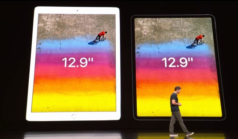 Apple compared the size of last year's 12.9-inch iPad Pro to the new, smaller model.
