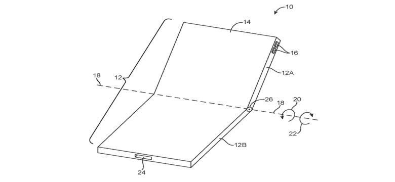 This is an early concept drawing from Apple for a folding iPhone.