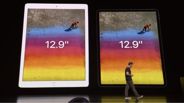 Apple's old 12.9-inch tablet next to the 2018 iPad Pro.
