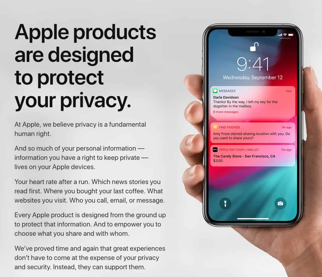 Apple continues to put privacy front and center.