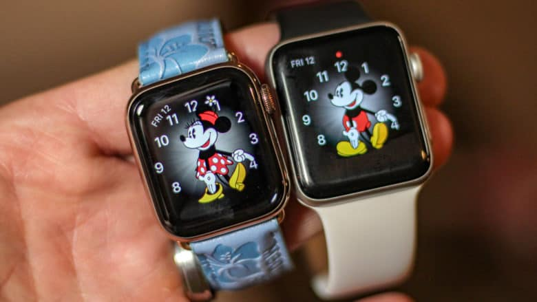Apple Watch Series 4 and Series 3 size comparison Mickey Mouse