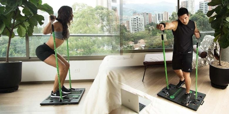 Recreate hundreds of gym machine exercises at home with this lightweight, portable kit.