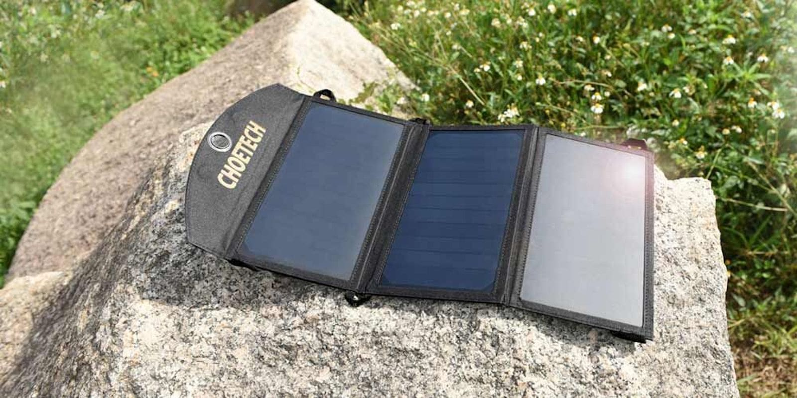 This tough, lightweight, foldable solar charger can charge up two USB devices at once.