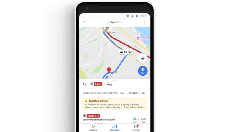 Google Maps Gets New 'Commute' Tab, Streaming Music Integration, and More