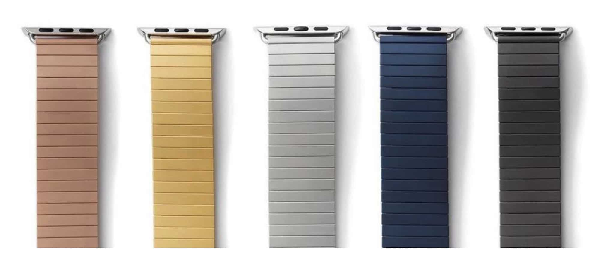 Rilee & Lo Apple watch band colors: rose gold, gold, silver, navy, black