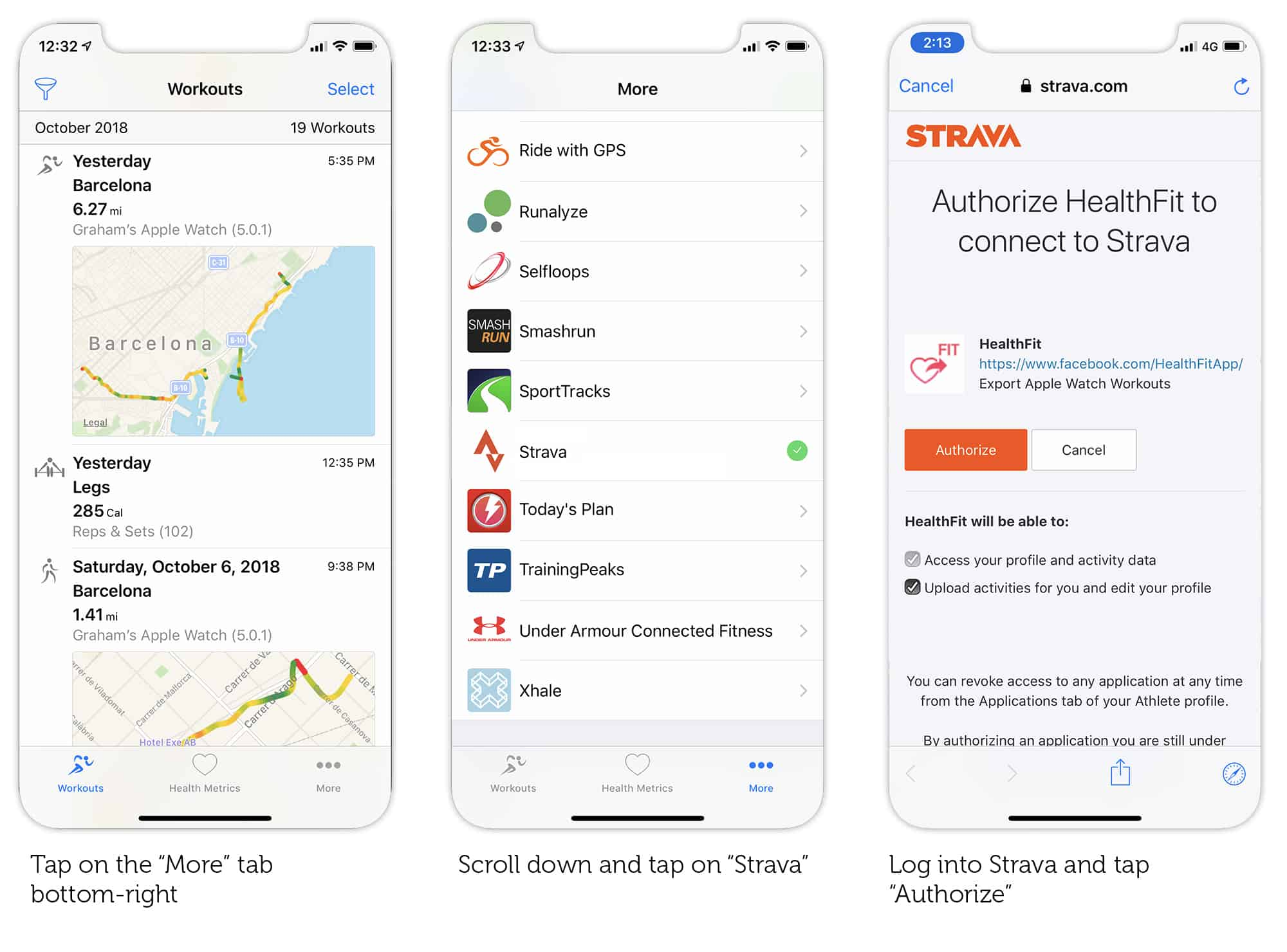 Connecting HealthFit with Strava is easy too