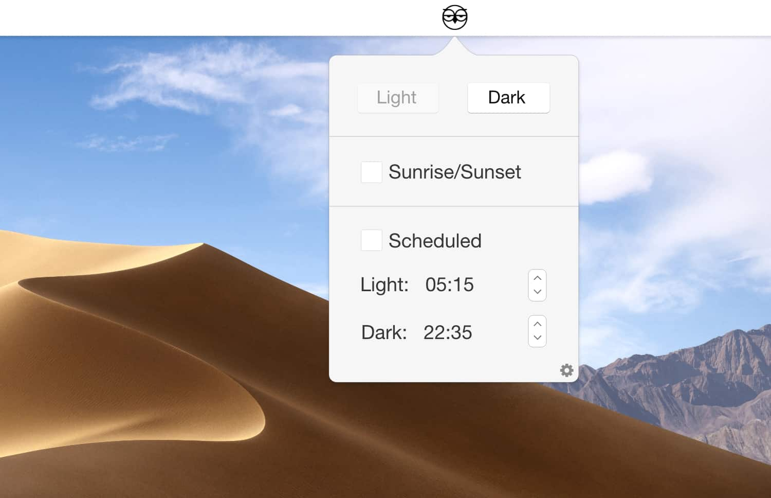 Night Owl lets you automatically switch your Mac between Dark Mode and the normal theme.