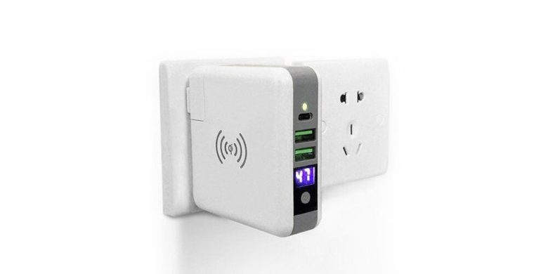 This charger will plug into any wall outlet, charging USB, USB-C, or Qi-enabled devices.
