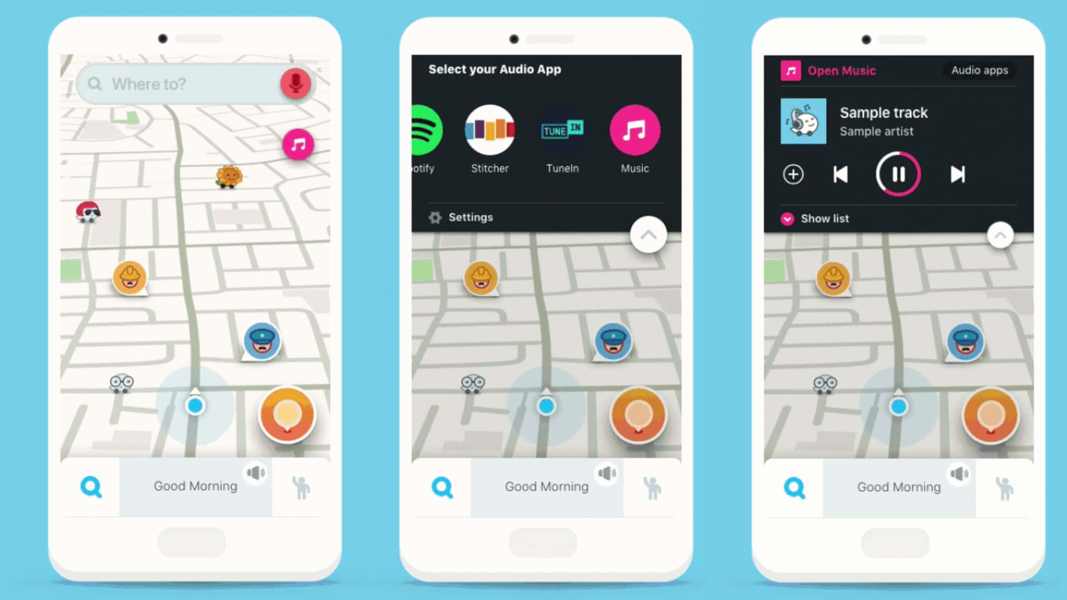 The Waze Audio Player puts podcast controls right next to your driving directions.