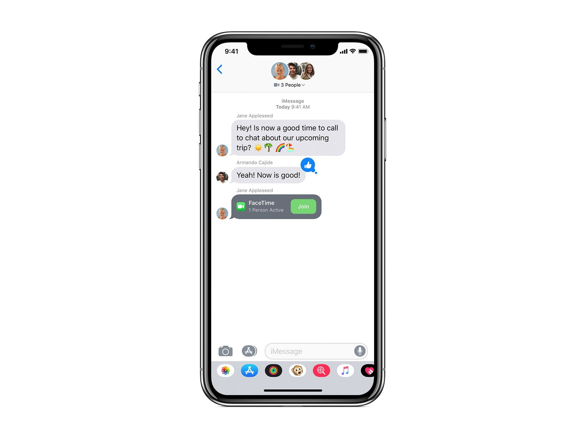 Join a Group FaceTime call from inside a Messages thread.