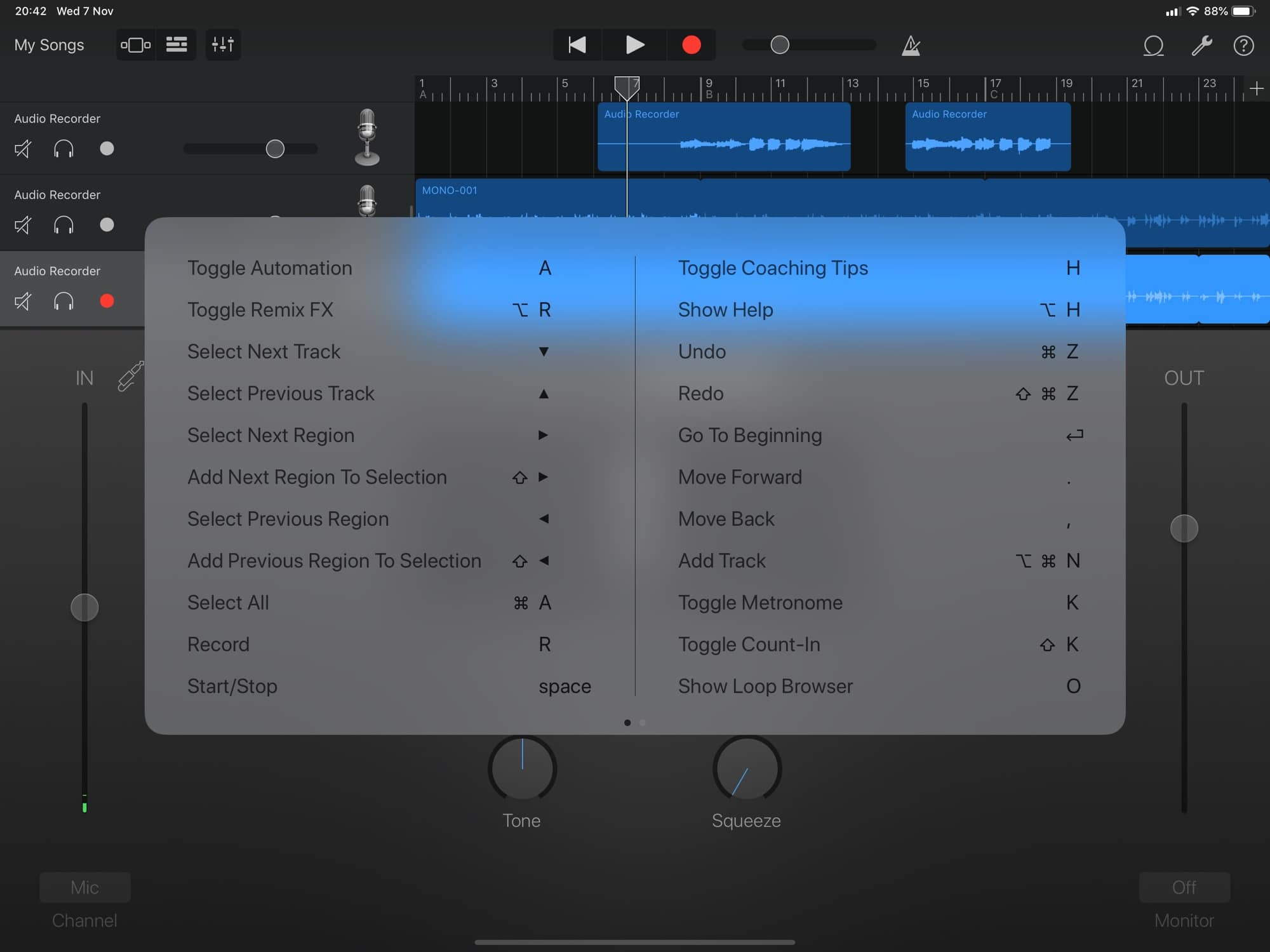 GarageBand's new keyboard shortcuts, part one.