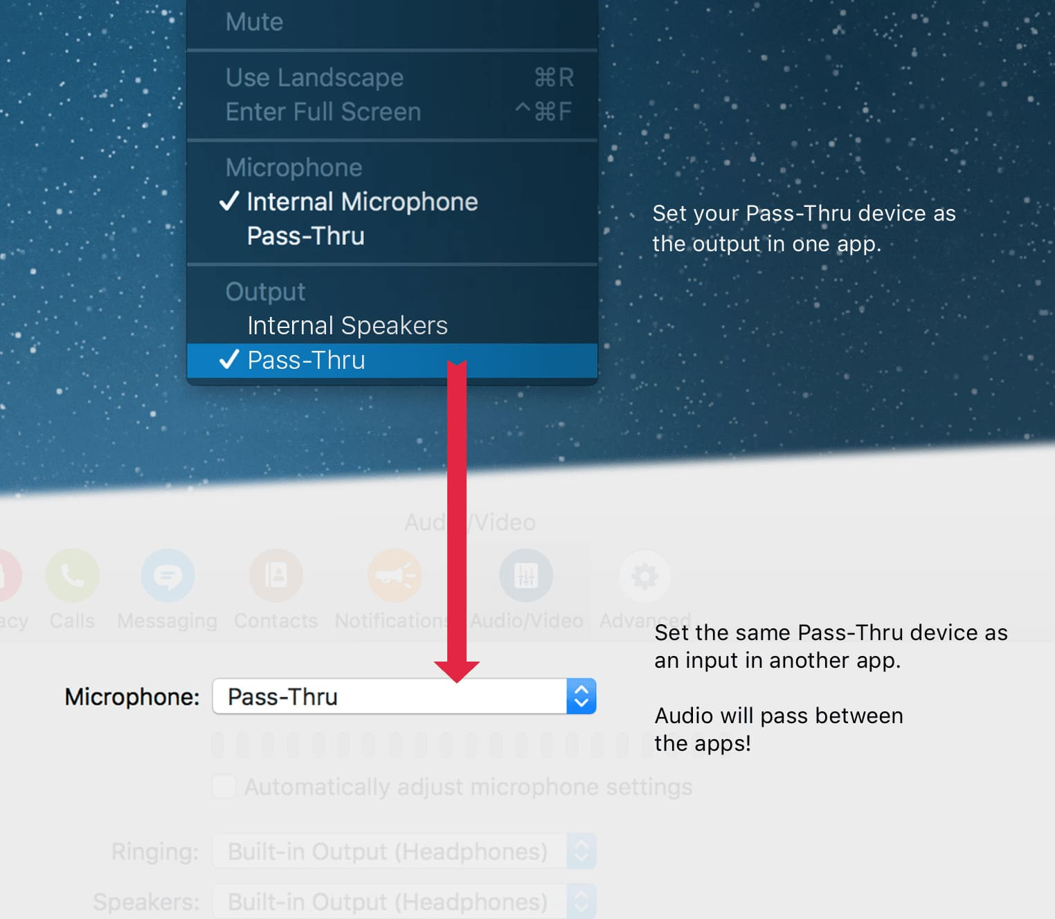 Loopback routes audio wherever you want it, including your separate MacBook audio outputs.