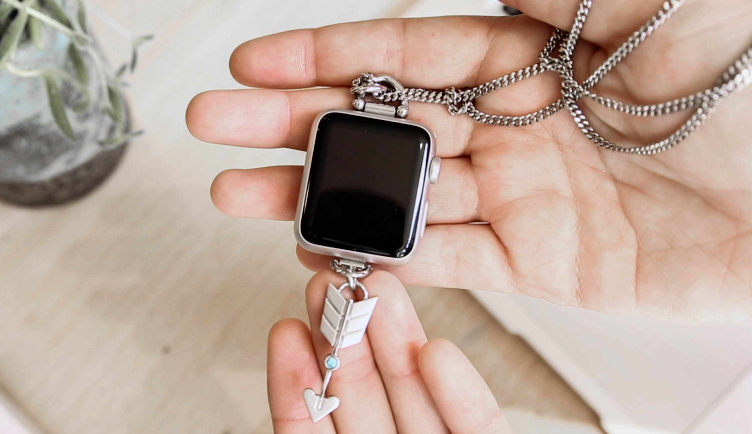 Wear your Apple Watch in a unique way with the brand-new Silver Arrow Charm Necklace by Bucardo.