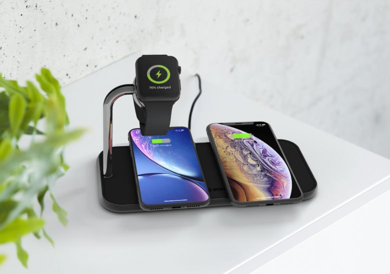 ZENS Dual Watch Aluminum Wireless Charger for iPhone Xr iPhone Xs