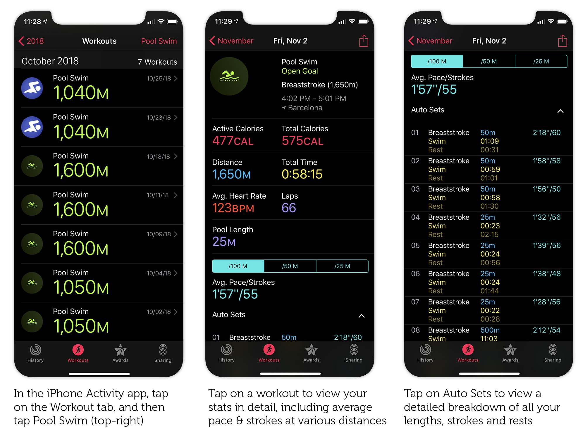 Get a detailed summary of your swimming workout in the Activity app.