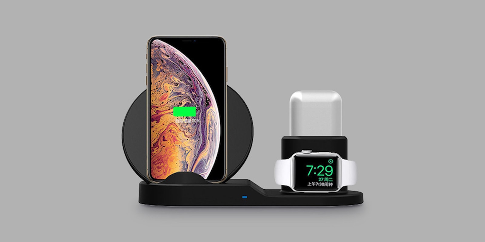 No need for a tangle of cables on your desk with this 3-in-1 wireless charging hub.