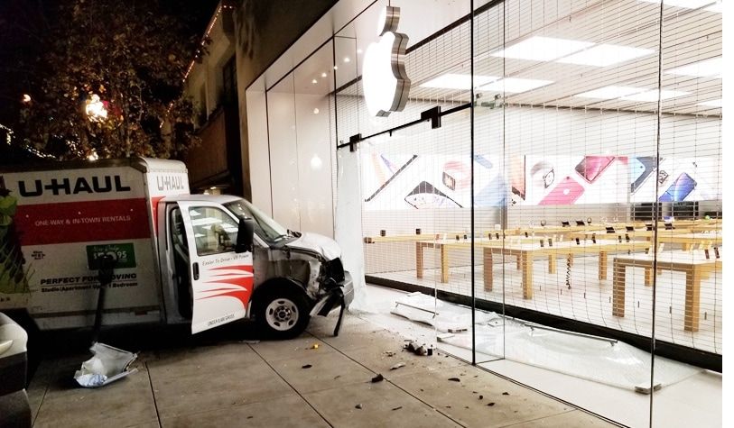 This U-Haul truck was used to unsuccessfully try to rob an Apple Store.