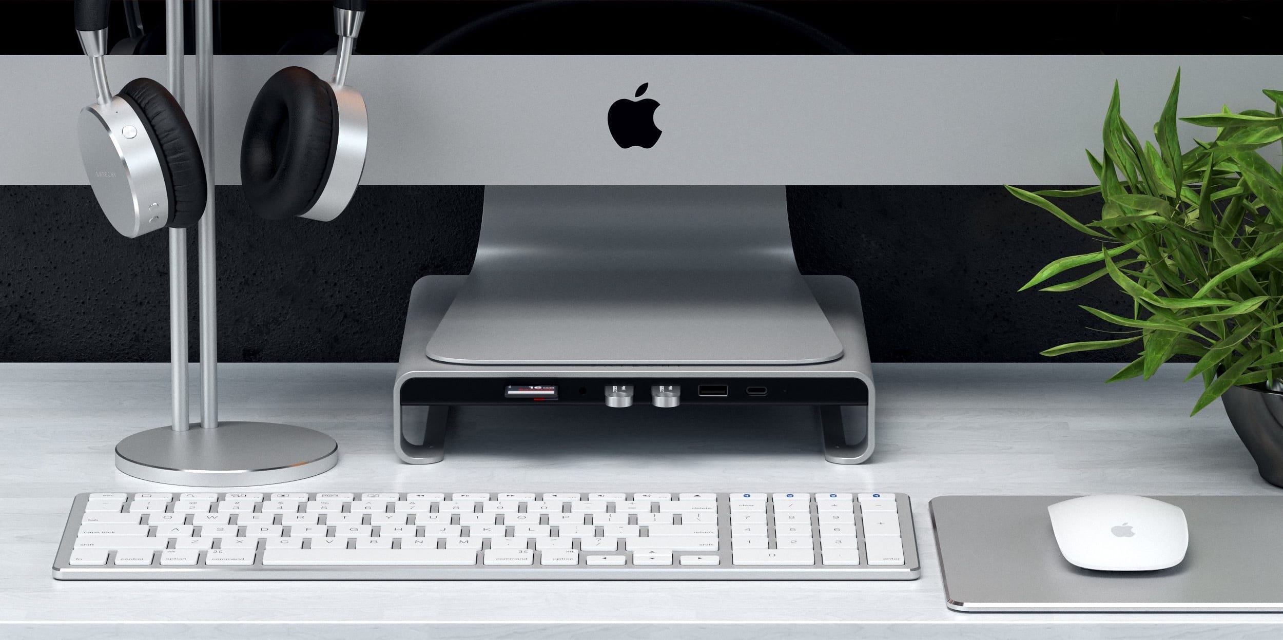 Satechi Type-C Aluminium Monitor Stand Hub for iMac