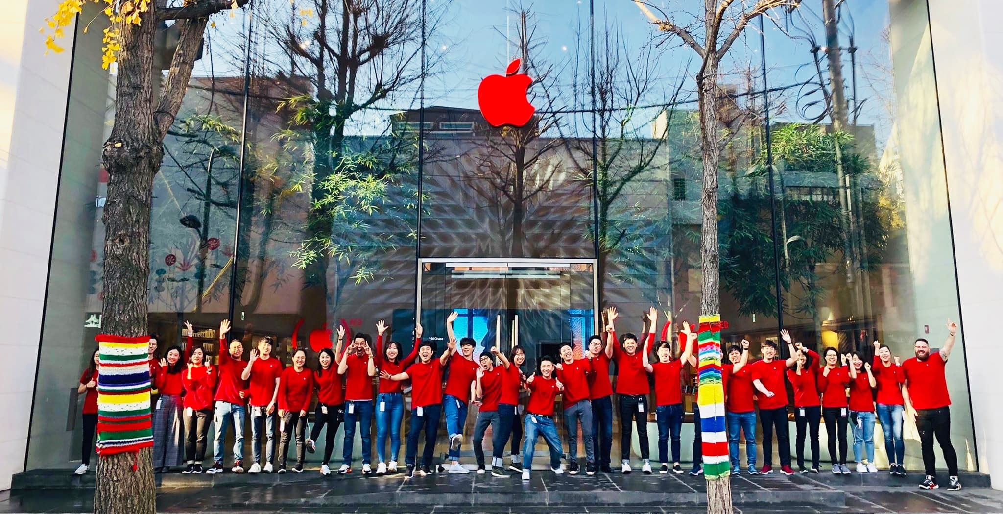Apple calls attention to World AIDS Day with red logos in its retail stores.