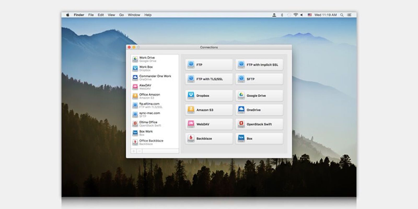 Mount cloud drives just like local ones, via drag and drop on the desktop and with Finder.