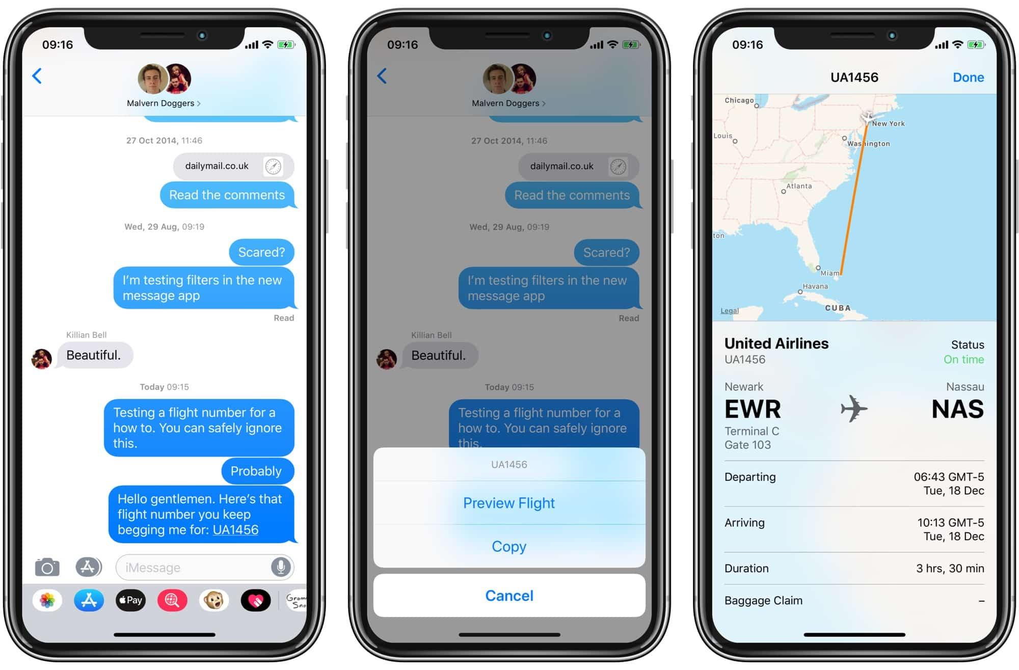 Ver seguimiento de vuelo detallado dentro de la aplicación de mensajes.
