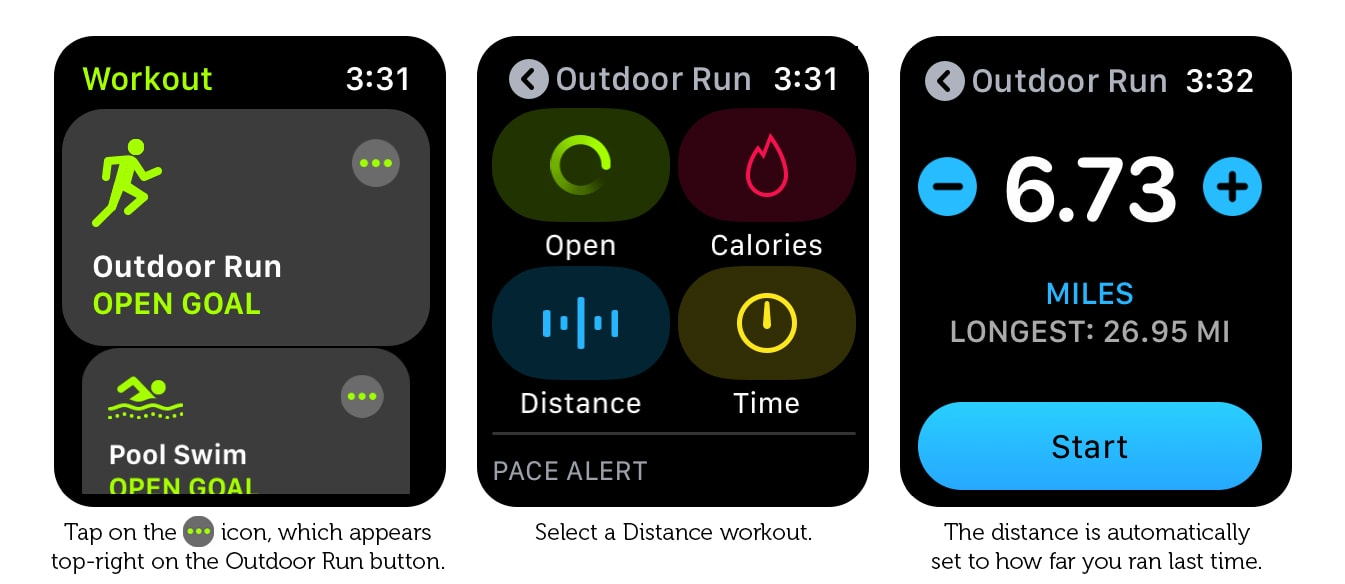 How to set yesterday's distance as the target for today's workout.