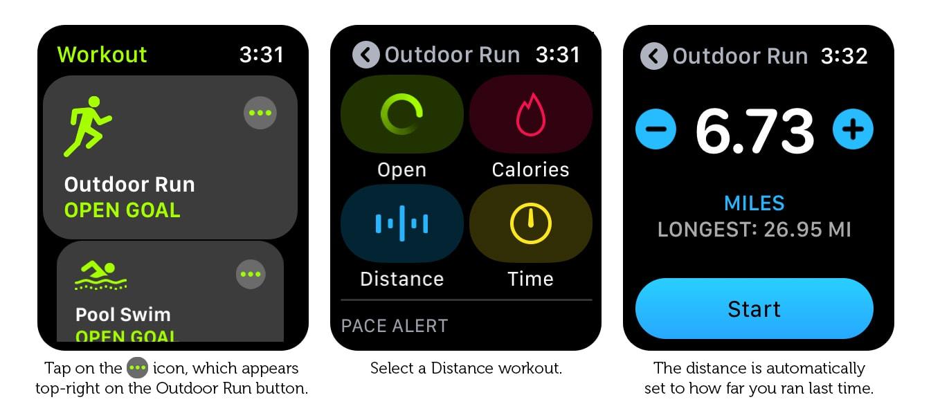 Cómo establecer la distancia de ayer como el objetivo para el entrenamiento de hoy.
