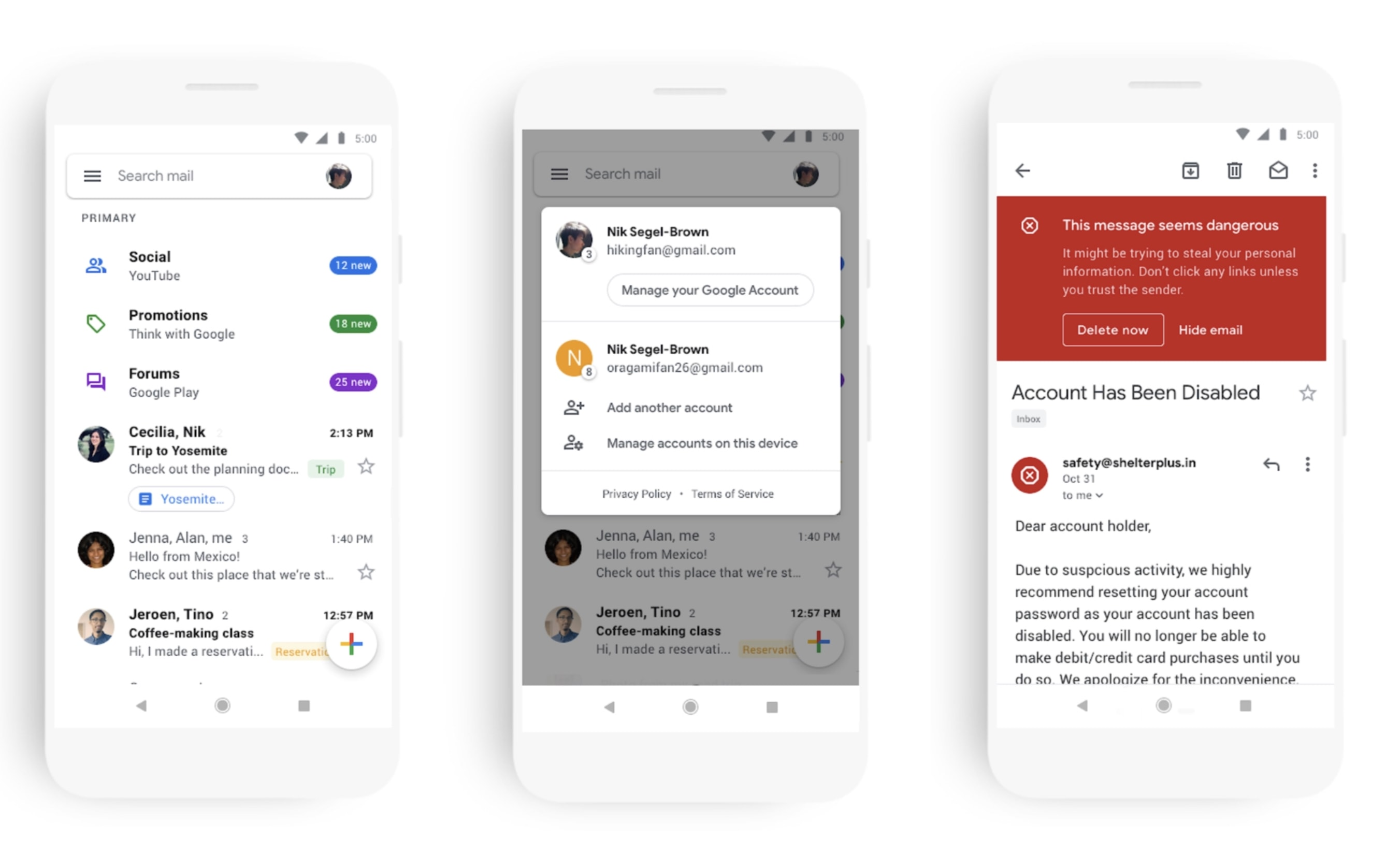 Gmail redesign Android iOS
