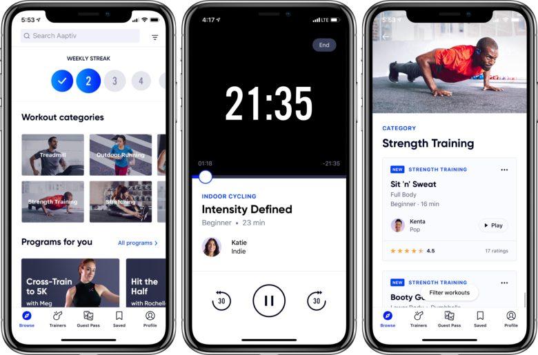 Aaptiv screenshot of workout screens
