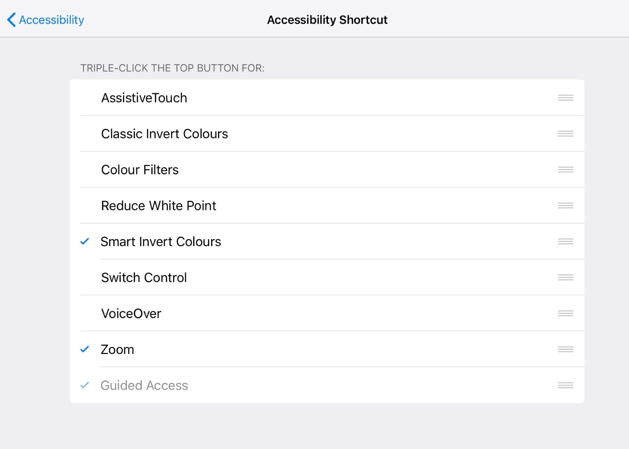 Your accessibility shortcuts.