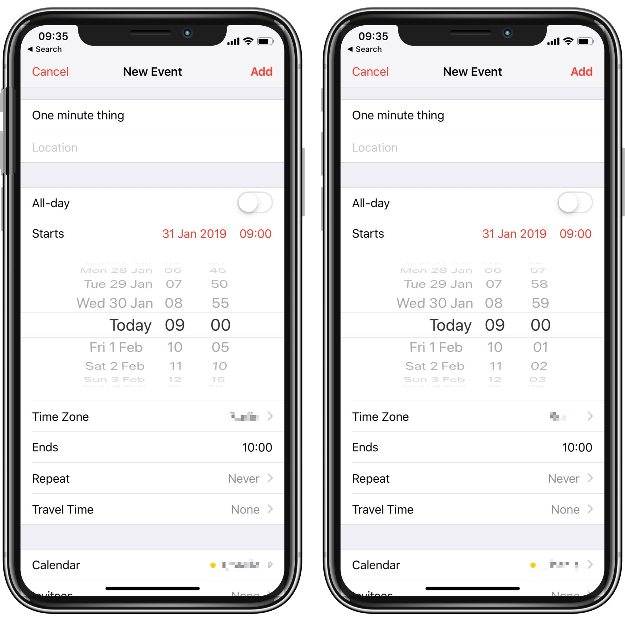 How to make the Calendar app's timer picker more accurate