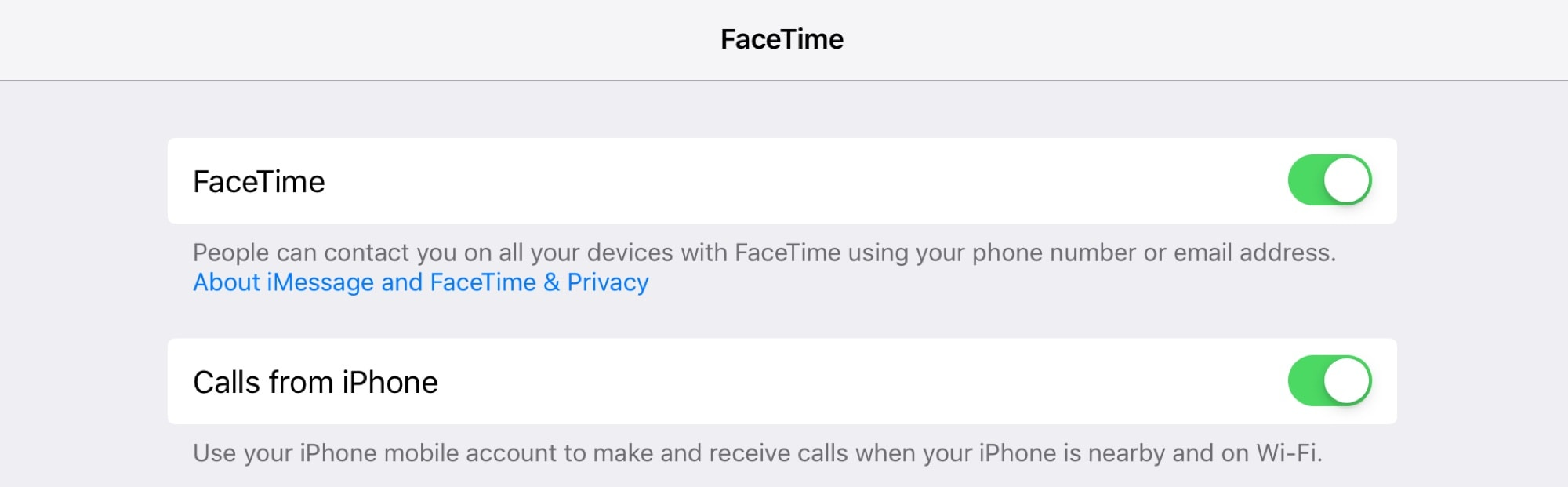 Switch on Calls from iPhone to complete the setup and make iPad phone calls