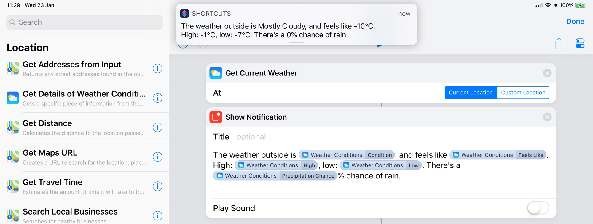 This iPad weather shortcuts shows that the weather outside is frightful..