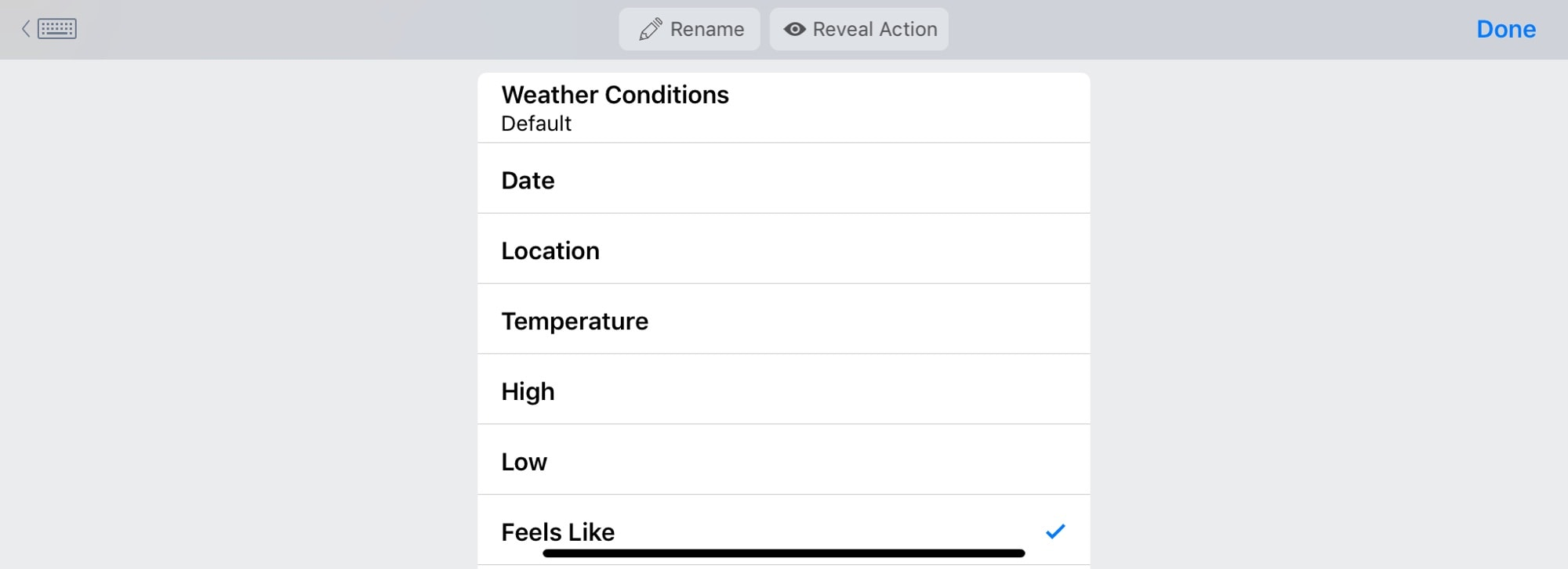 Choose from a long list of weather data types.