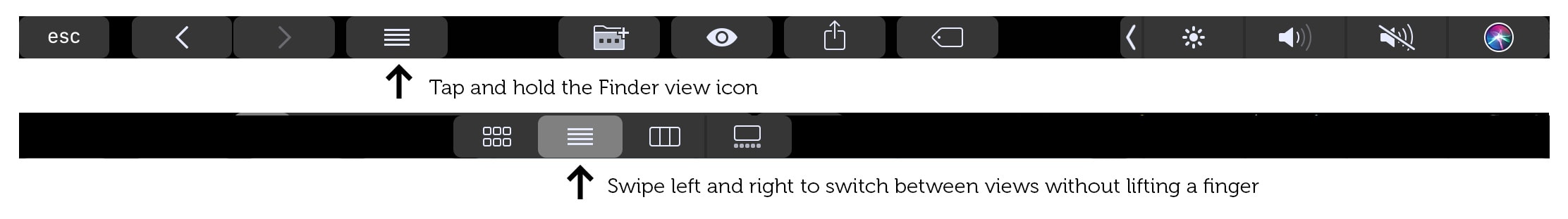 Switch between Finder views without lifting a finger