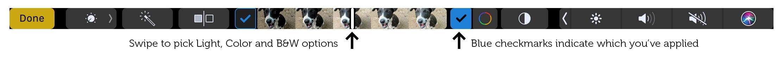 Las marcas de verificación indican qué efectos ha aplicado en las fotos