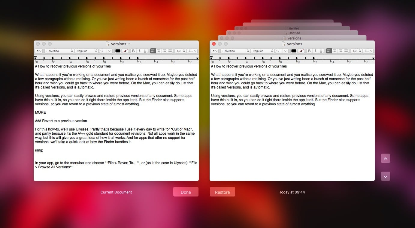 This is how versions look in TextEdit