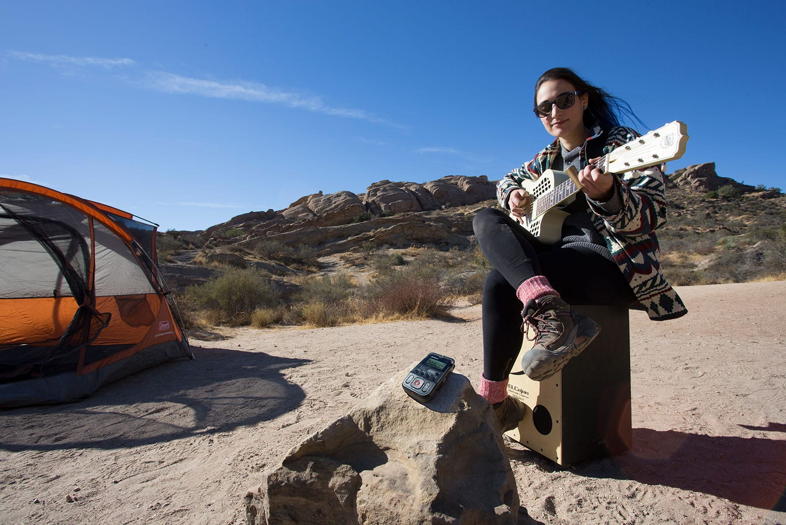 Who doesn't like to record while sitting on a cajón in the dessert?